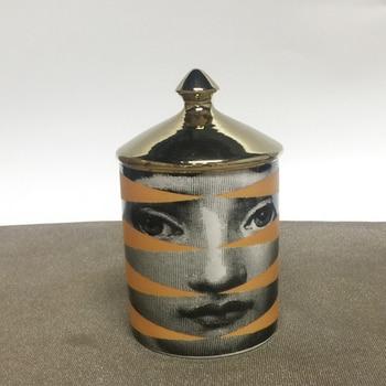 Lady Face Candle Holder Human Face Jar Candelabra Retro Storage Bin Ceramic Cafts Home Decoration Jewerlly Storage Box 19