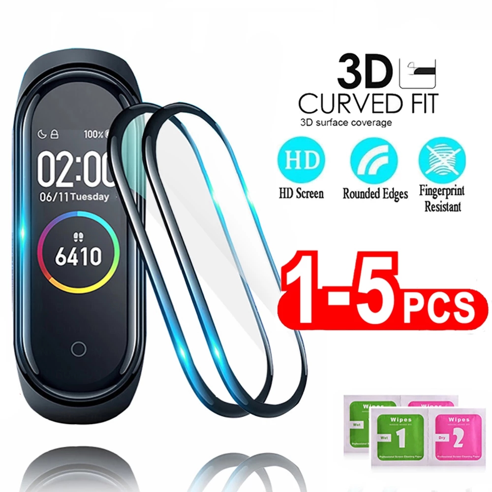1/2/3/5Pcs 3D Protective Glass for Xiaomi Mi Band 4 5 6 Screen Protector for Miband 5 4 Cover Smart Watchband 4 band5 Soft Film 1