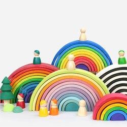 Dropshipping Large Rainbow Blocks/Semicircle Building Blocks Baby Gift Pegdolls Geometric Wooden Toys For Kids Education