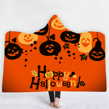 Halloween Hooded Wearable Blanket Pumpkin Witch Thick Pom Throw Throws for Sofa Thickening Mantle Cobertor 150*200