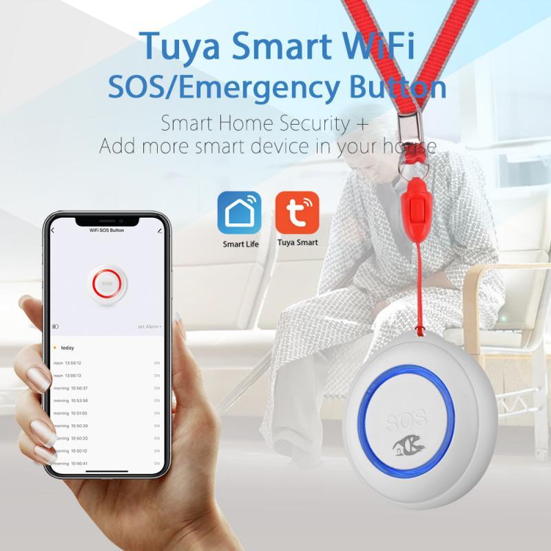Tuya Smart Elderly Senior WIFI SOS Button Emergency Alarm Fall Alarm Real-time Tracking Two Way Talking Geo-fence Elderly Care