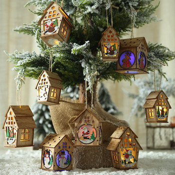 2020 Home Wooden House Light Christmas Santa Elk Holiday Decorations Ornaments boze narodzenie image