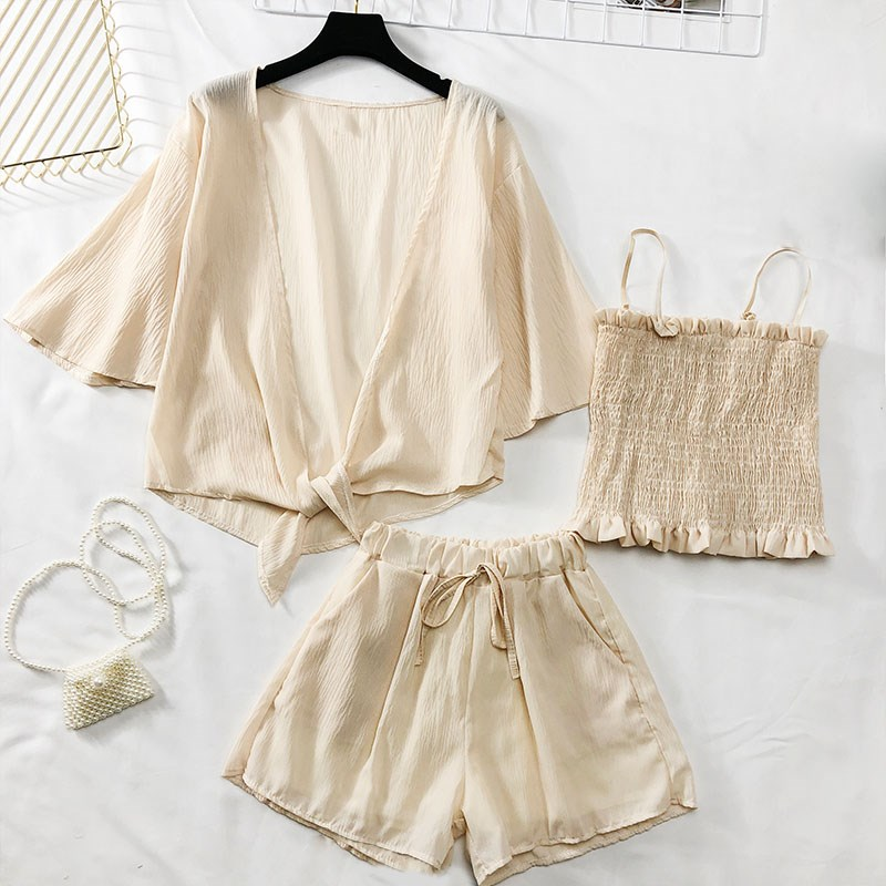 2019 Summer Women Three Piece Outfits Casual Solid Blouse and Loose Shorts Sets Women Suit in Women 39 s Sets from Women 39 s Clothing