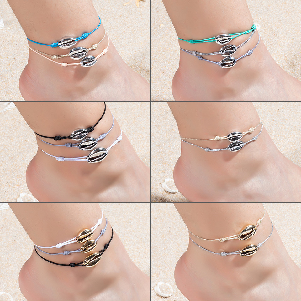 Fashion Anklets For Women Bracelet Shells Foot Jewelry Sea Shell Barefoot On Leg Silver Color Ankle Rope Chain Adjustable Gifts 1