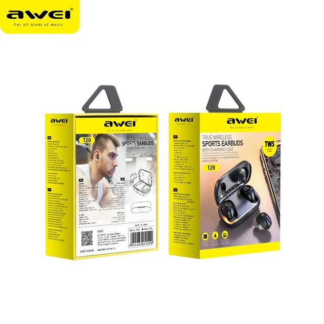 AWEI T20 Touch Control TWS Bluetooth 5.0 Headphones with Microphone 6
