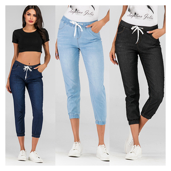 Lace Up Washed Feet Lantern All Match Denim Pants Women Sport Causal Jeans Direct Hot Selling Womens Long