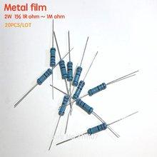 20 PÇS/LOTE 2W filme De Metal resistor 1R ~ 1M 1% 100R 220R 330R 1K 2.2K 3.3K 4.7K 6.8K 47 20 10K K K 100 220 470 680 2K2 3K3 4K7 ohm
