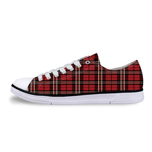 Traditional Scottish Plaid Unisex Canvas Shoes For Men Classic Flats Canvas Shoes Teen Boys Studnets Low Top Sneakers