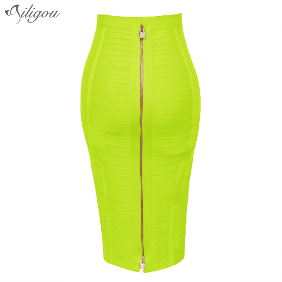 Ailegou 13 Color 58Cm Lady Sexy Zipper Black Blue Orange Red Rayon Bandage Skirt 2018 Designer Pencil Skirt Faldas