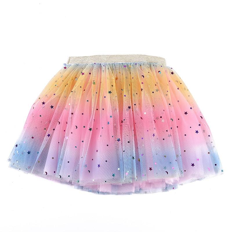 Юбка-пачка для девочек и женщин, детская балетная юбка с принтом звезд, для вечеривечерние, градиентный костюм, одежда