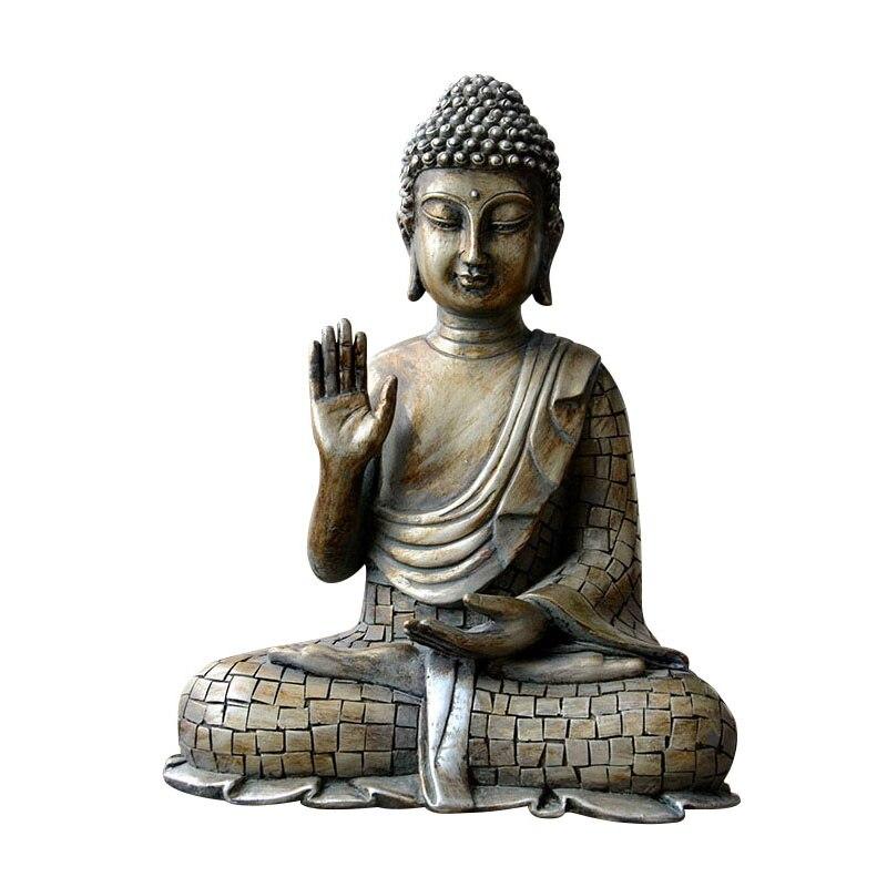 Résine thaïlande bouddha Statue Vintage hindou Fengshui Figurine méditation Miniature Bronze Sculpture accessoires de décoration de la maison