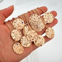 Vintage 12 constelación cristal Moneda de Oro Zodiaco signo Aries Leo pendiente de Virgo cartón para collar para las mujeres joyería geométrica de moda