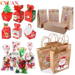 Image 1 - Joyeux noël cadeau sacs arbre de noël en plastique sac demballage flocon de neige noël boîte de bonbons nouvel an 2021 enfants faveurs sac Noel décor
