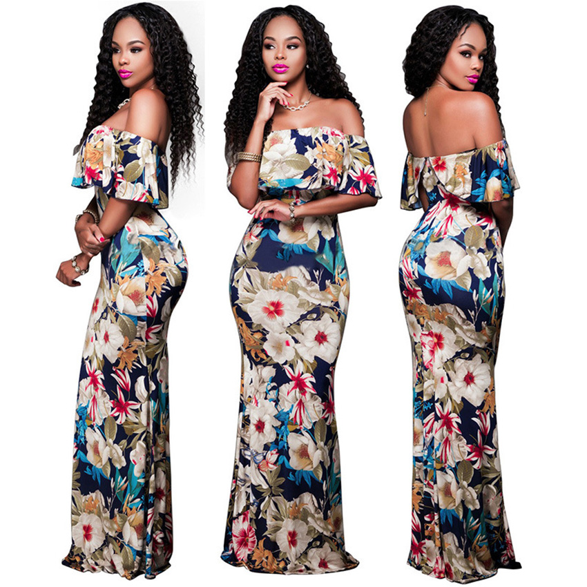 2020 News Eveving Party Dress  African Clothes Ruffle Shoulder Off  Floral Print Vestidos African Robe Dresses For Women