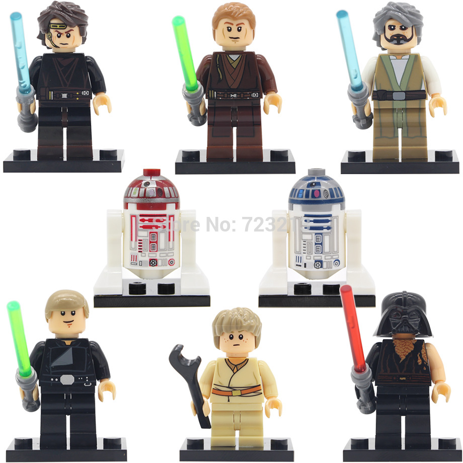 Figure R2D2 Old Luke Child Anakin Skywalker Jedi Knight Sith Warrior R4P17 Leg Building Blocks Model Toys X0124 Legoing