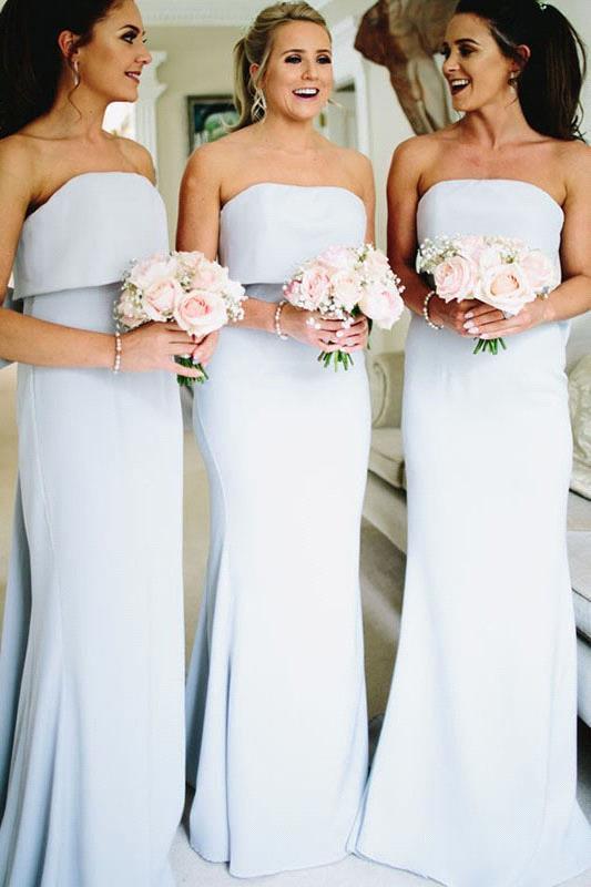 Cheap Sweet   Bridesmaid     Dresses   Strapless Sleeveless Floor Length Big Bow Backless Prom Gown Mermaid   Dress   Wedding Gust   Dress