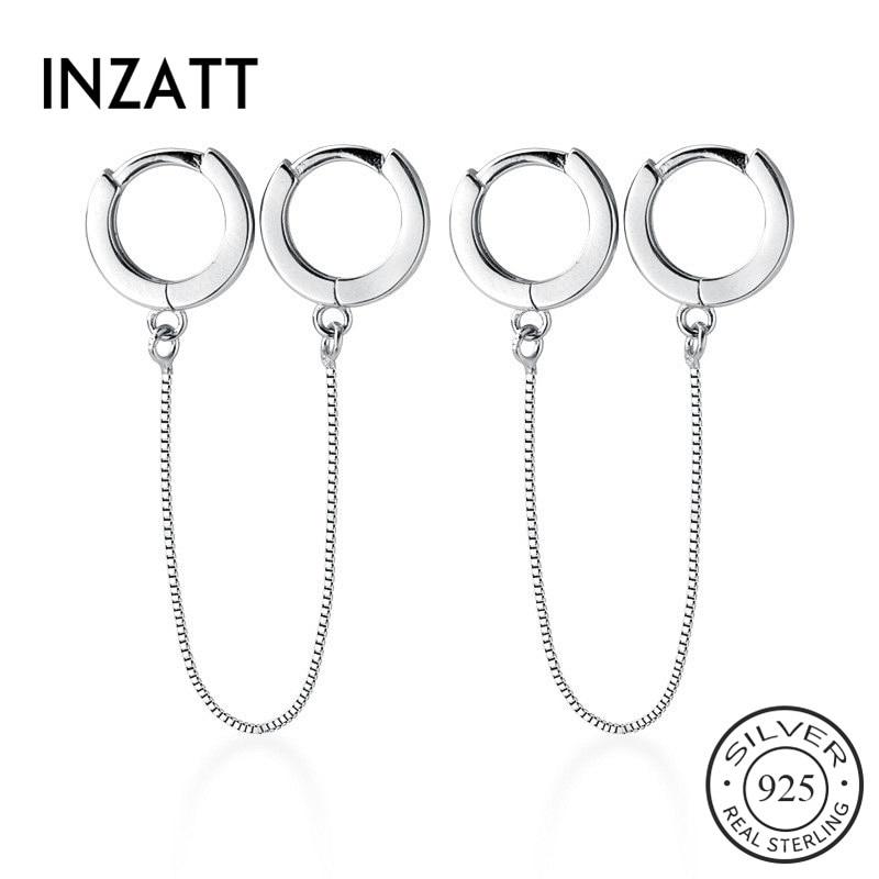 INZATT Real 925 Sterling Silver Round Tassel Hoop Earrings For Fashion Women Party Minimalist Fine Jewelry Trendy Accessories
