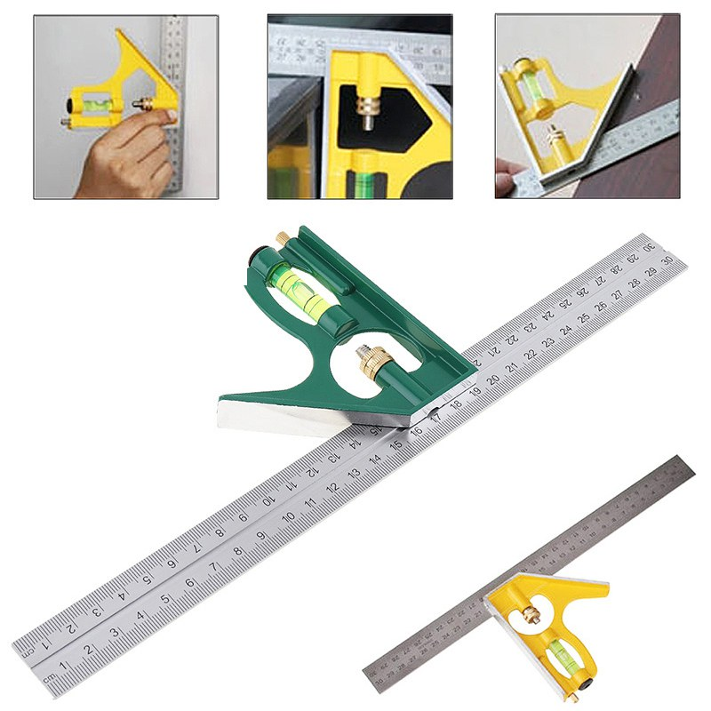300mm Angle Ruler Adjustable Stainless Steel  Combination Square Angle Ruler Measuring Tools 45/90 Degree Multi-functional Tool