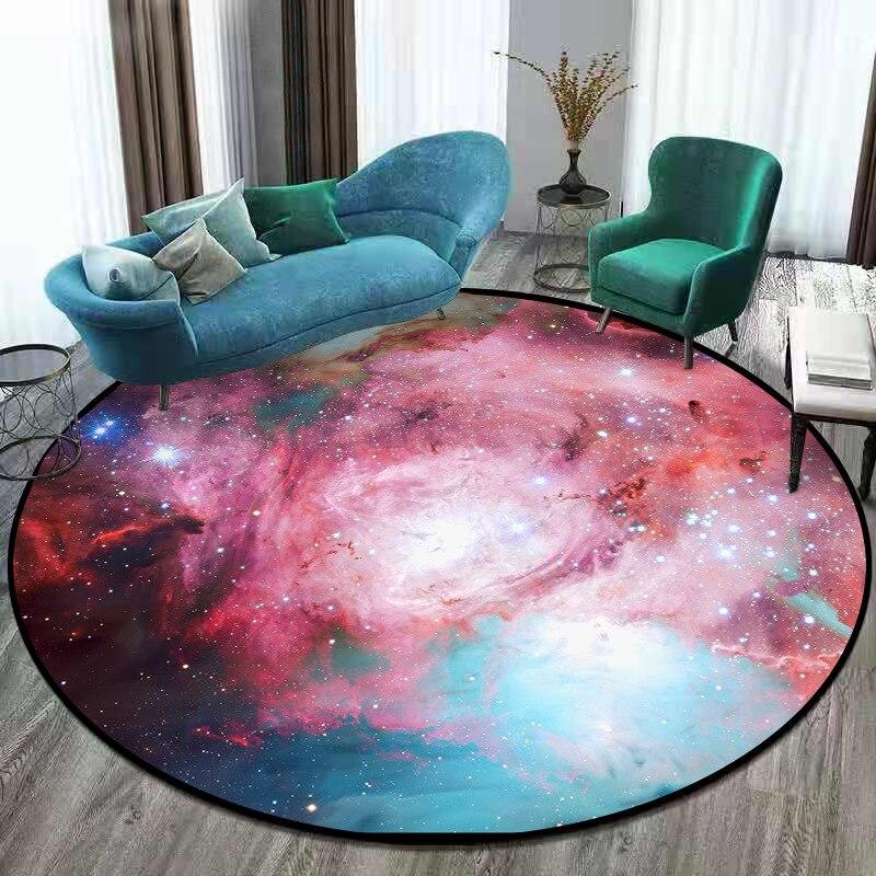 Image 4 - Gorgeous Starry Universe Series 3D carpet Living room bedroom non  slip circular floor mat plush round rug custom made door matMat   -