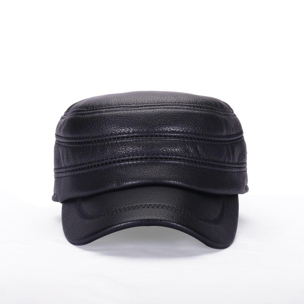 Military Cap Winter Hat Men's Baseball Cap Flat Top Leather Earmuffs Riding Warm Outdoor Thick Fleece Women's Hat BQM203