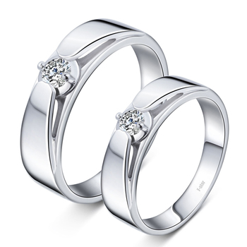 18ct Gold 0.15+0.15ct Diamond Couple Set Rings Wedding Bands Engagement Rings for Men Women Free DHL Shipping 2