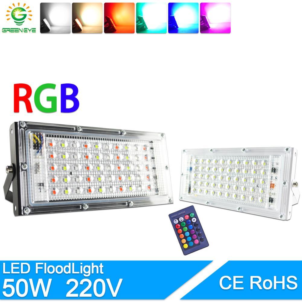 LED מבול אור 50W RGB led הארה חם קר AC 220V 240V LED רחוב מנורה עמיד למים IP65 חיצוני תאורת led cob זרקור