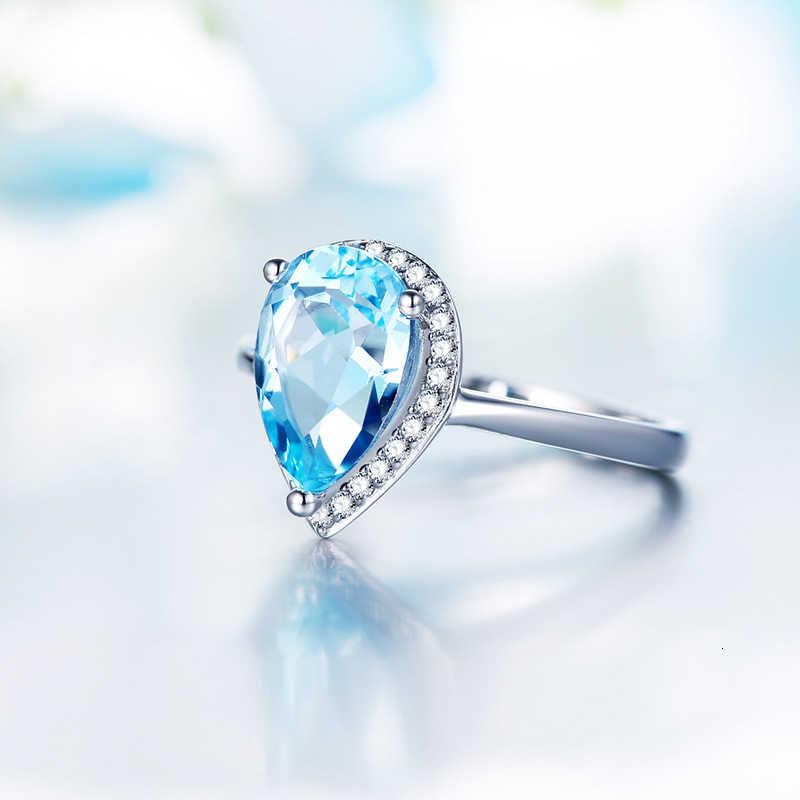 WEGARASTI argent 925 bijoux bague femme aigue-marine goutte d'eau à la mode classique 925 bague en argent Sterling bijoux de mariage fiançailles