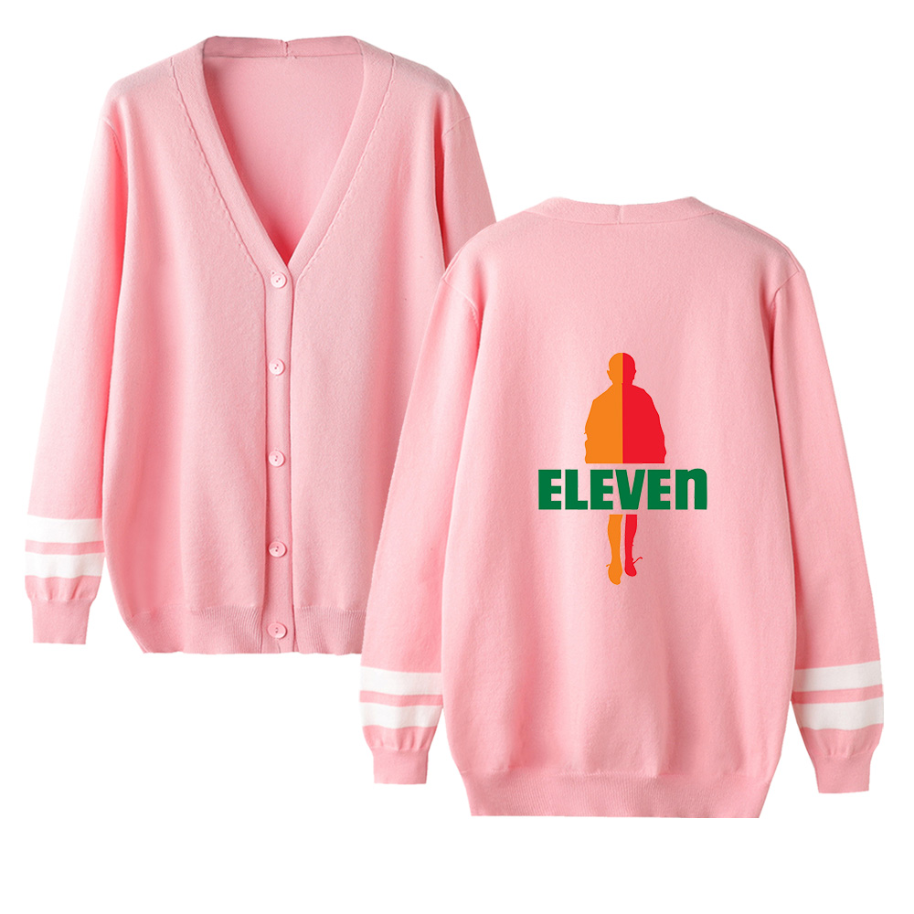 Kpop Cute Stranger Things V-neck Cardigan Sweater Men/women Casual Sweater Stranger Things Cardigan Sweater Pink Tops