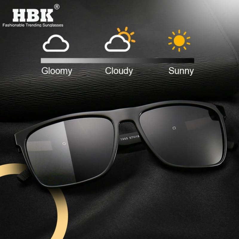 HBK Advanced Square TR90 Photochromic Sunglasses Polarized Men Women Driver Light Interchangeable Adaptive Lense Sun Glasses