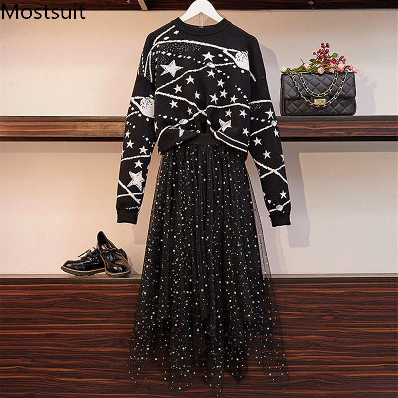 2019 Autumn Winter Black Two Piece Sets Outfits Women Stars Knitting Sweaters And Long Skirt Suits Elegant Fashion Office Sets 25