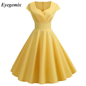 Yellow Summer Dress Women 2020 V Neck Big Swing Vintage Dress Robe Femme Elegant Retro Pin Up Party Office Midi Dress Plus Size