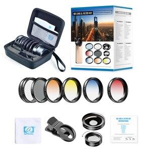 Image 5 - Apexel 9in1 전화 렌즈 그라디언트 필터 키트 0.45x 와이드 37mm uv grad 블루 레드 + cpl nd32 필터 for iphone xiaomi 모든 스마트 폰