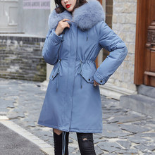 Nice Cotton Liner Warm Coat And Waterproof Jacket Women Plus Size Slim Long Coat Female Winter Big Fur Hooded Parka Mujer Coats(China)