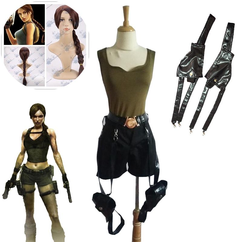 Game Tomb Raider Lara Croft Cosplay Costume Women' Sexy Halloween Carnival Uniforms Full Set With Gun Bag and wig Custom Made