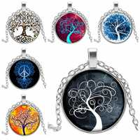 2019 New Latest Tree of Life Statement Necklace Art Photo Glass Cabochon Pendant Charm Female Necklace Necklace Gift Jewelry