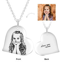 """925 Sterling Silver Custom Photo Text Collares Pendant Personalized Love Heart Engraved Jewelry Adjustable 16"""" 20"""" Necklace"""