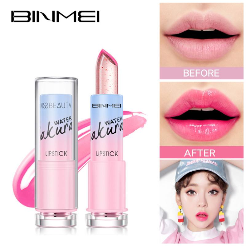 6colors Hot Sale Moisturizer Long-lasting Lipstick Jelly Flower Makeup Temperature Changed Color Lip Blam Pink Transparent TSLM1