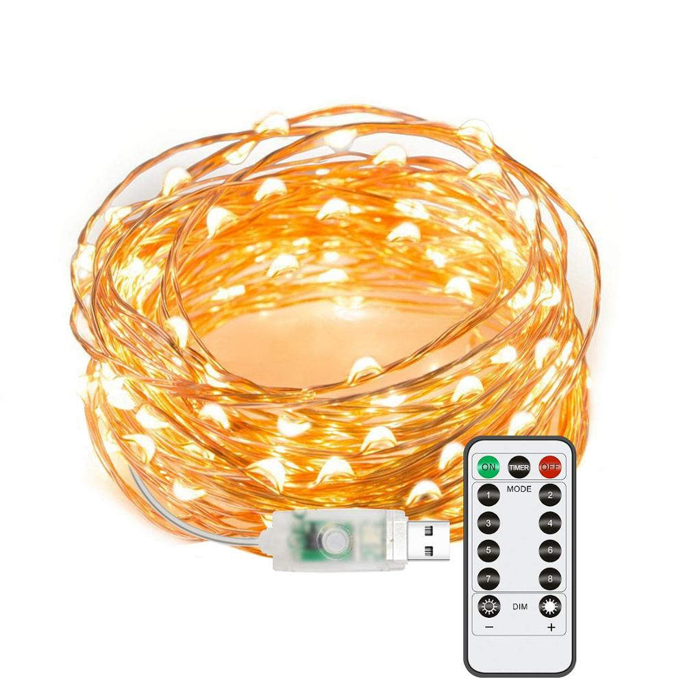 Fairy Lights USB Plug In String Lights 33 Ft 100 LEDs Copper Wire Lights With Remote For Bedroom, Wedding, Parties, Patio