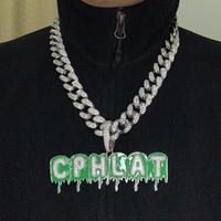 A-Z, заказное имя, зеленые Пузырьковые буквы, подвеска и ожерелье, шарм, мужские CZ хип-хоп ювелирные изделия с золотом, серебром, 20 мм, кубинска...