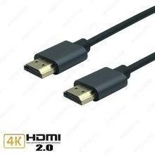 Alüminyum alaşım HDMI kablosu M/M HDMI HDMI 4k 2.0 ince HDMI kablosu TV dizüstü projektör PS3 PS4 kablosu 0.5m 1m 1.5m 3m