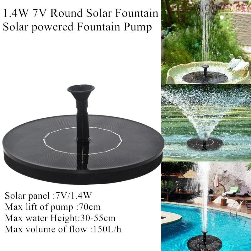 1.4W 7V fontanna solarna okrągła zasilana energią słoneczną pompa fontannowa fontanna solarna basen ogrodowy Panel słoneczny fontanna pływająca fontanna