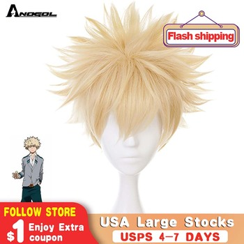 Anogol Anime My Hero Academia Baku No Bakugou Katsuki Short Straight Blonde Synthetic Cosplay Wig For Halloween Costume