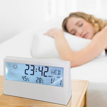 FANDSON nowy LCD cyfrowy budzik biurkowy z kalendarzem i temperaturą wilgotność warunki pogodowe nowoczesna stołowa zegar tanie i dobre opinie CN (pochodzenie) Akrylowe 2029 Skok Funkcja drzemki 32mm DIGITAL 6 cal SQUARE Zegary biurkowe 73mm 132mm 125g