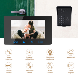 "Image 2 - 7""Video Door Phone Video Doorbell ID Card+Password Access Control Intercom System with Night Vision and Wireless Remote Switch"