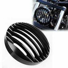 "5 3/4"" Billet Aluminum Front Motorcycle Headlight Grille Cover for Motorcross Motorcycle Mount Light Protector(China)"