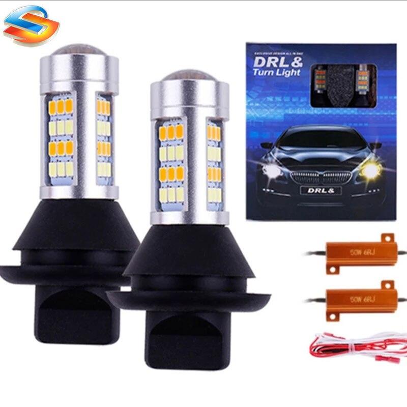 Комплект из 2 предметов, Белый/янтарный 42SMD 2835 Светодиодный лампы Комплект 1156 P21W BA15S PY21W BAU15S T20 W21W Авто указатель поворота светильник s дневные ...
