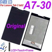 Original para lenovo tab 2 tab2 A7-30HC A7-30 A7-30DC display lcd de toque digitador da tela sensores montagem vidro com quadro peças