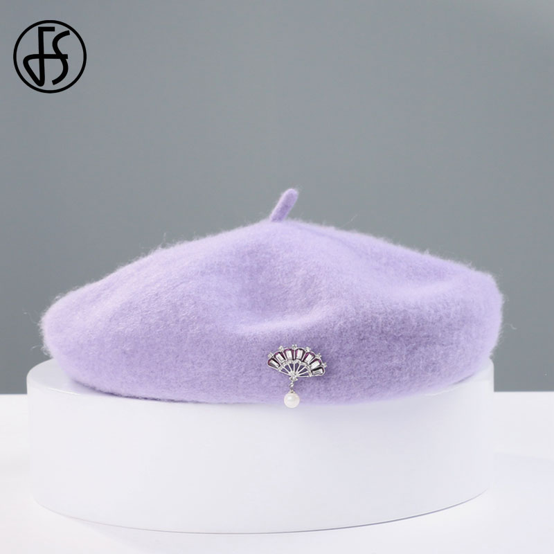 Women Pearl Rabbit Plush Beret French Artist Warm Beanie Hat Winter Ski Cap New