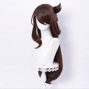 Парик Genshin ударопрочный для косплея Beidou, съемный пучок, коричневые длинные прямые челки, термостойкие волосы, для взрослых, для ролевых игр на Хэллоуин