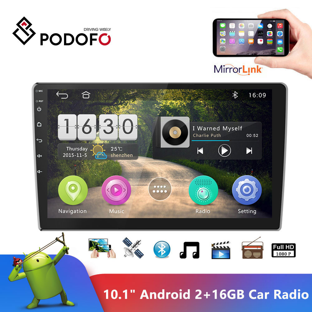 "Podofo 9"" Android 2din Car Radio 2+16GB Multimedia Player Audio Stereo Autoradio GPS Bluetooth WIFI Mirrorlink MP5 Player Radio"